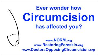 Front of Circumcision Information Card asking if you ever wondered how circumcision affected you